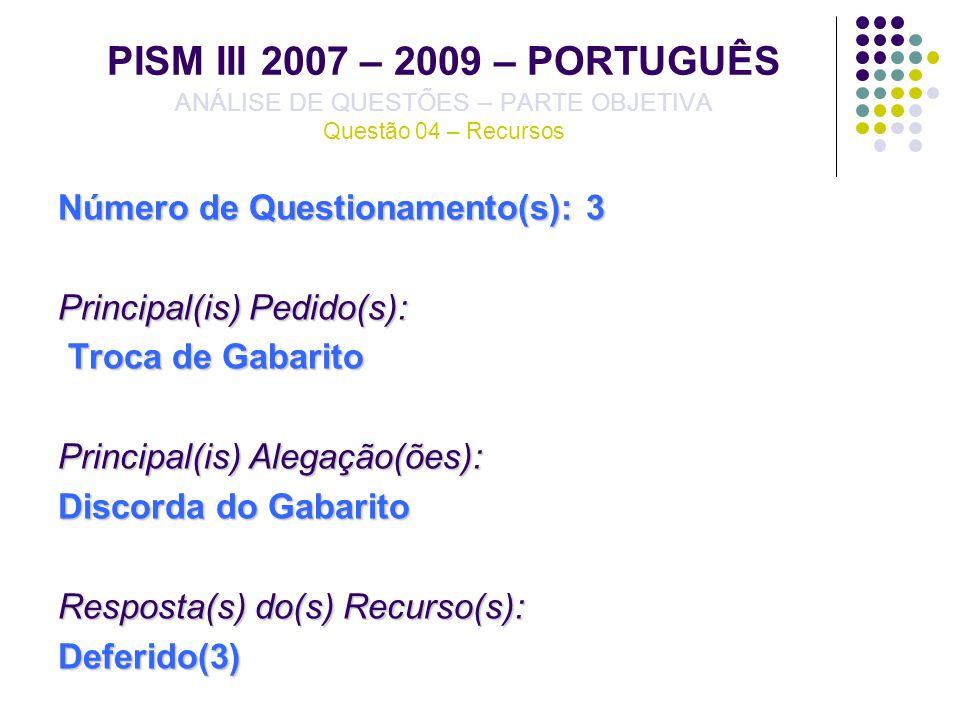 PISM III 2007 – 2009 – PORTUGUÊS ANÁLISE DE QUESTÕES – PARTE OBJETIVA Questão 04 – Recursos Número de Questionamento(s): 3 Principal(is) Pedido(s): Tr