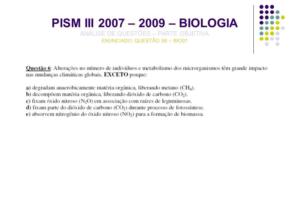 PISM III 2007 – 2009 – BIOLOGIA ANÁLISE DE QUESTÕES – PARTE OBJETIVA ENUNCIADO QUESTÃO 06 – BIO01