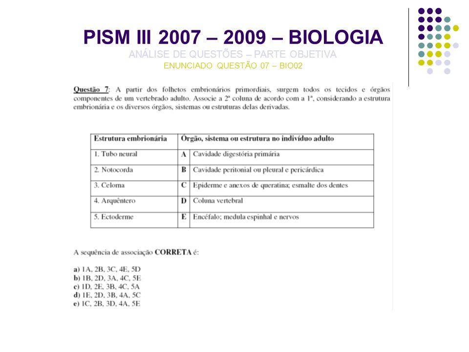 PISM III 2007 – 2009 – BIOLOGIA ANÁLISE DE QUESTÕES – PARTE OBJETIVA ENUNCIADO QUESTÃO 07 – BIO02