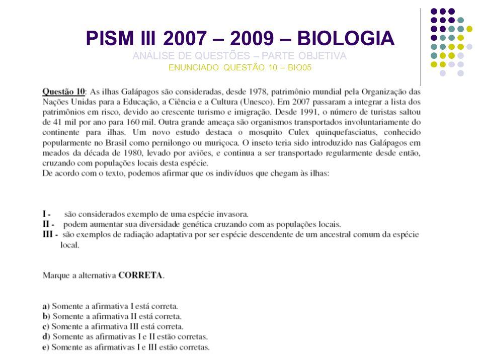 PISM III 2007 – 2009 – BIOLOGIA ANÁLISE DE QUESTÕES – PARTE OBJETIVA ENUNCIADO QUESTÃO 10 – BIO05