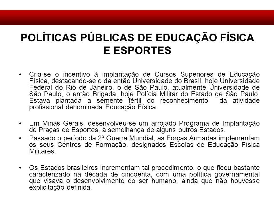 Cria-se o incentivo à implantação de Cursos Superiores de Educação Física, destacando-se o da então Universidade do Brasil, hoje Universidade Federal