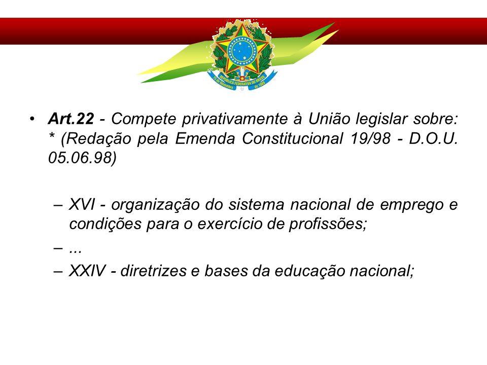 Art.22 - Compete privativamente à União legislar sobre: * (Redação pela Emenda Constitucional 19/98 - D.O.U. 05.06.98) –XVI - organização do sistema n