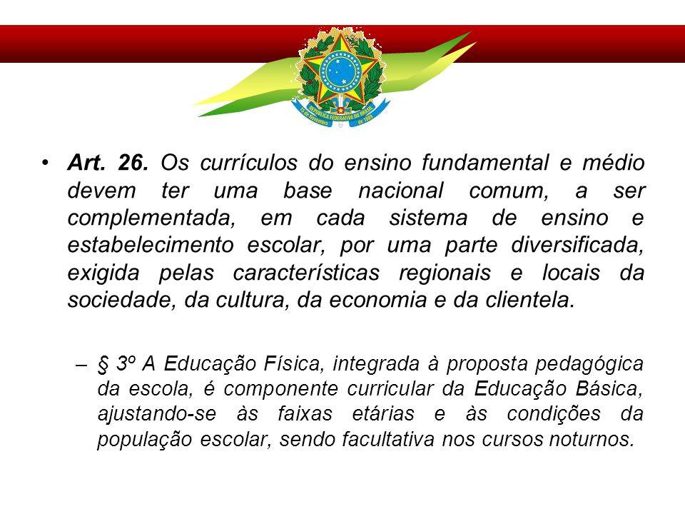 Art. 26. Os currículos do ensino fundamental e médio devem ter uma base nacional comum, a ser complementada, em cada sistema de ensino e estabelecimen