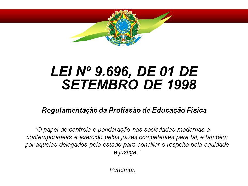 LEI Nº 9.696, DE 01 DE SETEMBRO DE 1998 Regulamentação da Profissão de Educação Física O papel de controle e ponderação nas sociedades modernas e cont