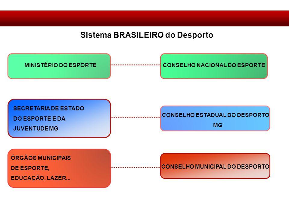 Sistema BRASILEIRO do Desporto MINISTÉRIO DO ESPORTE CONSELHO NACIONAL DO ESPORTE SECRETARIA DE ESTADO DO ESPORTE E DA JUVENTUDE MG CONSELHO ESTADUAL