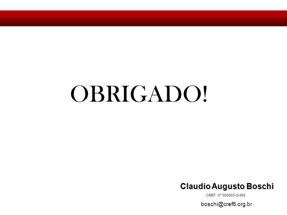 OBRIGADO! Claudio Augusto Boschi Claudio Augusto Boschi CREF nº 000003-G-MG boschi@cref6.org.br