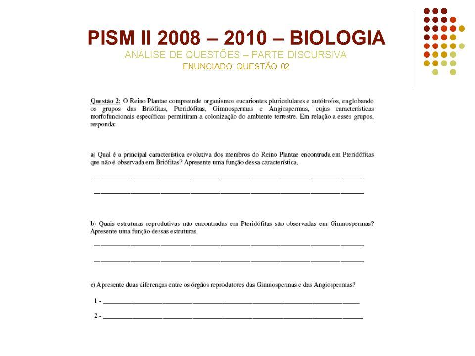 PISM II 2008 – 2010 – BIOLOGIA ANÁLISE DE QUESTÕES – PARTE DISCURSIVA ENUNCIADO QUESTÃO 02