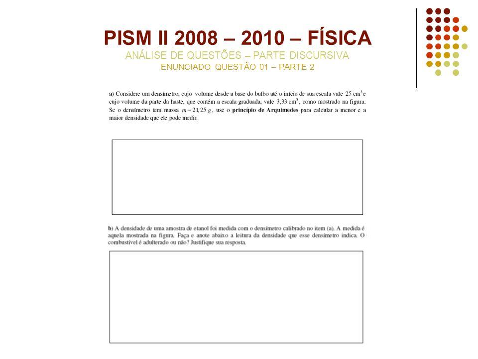 PISM II 2008 – 2010 – FÍSICA ANÁLISE DE QUESTÕES – PARTE DISCURSIVA ENUNCIADO QUESTÃO 01 – PARTE 2