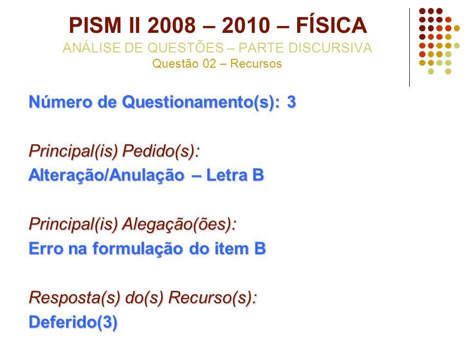PISM II 2008 – 2010 – FÍSICA ANÁLISE DE QUESTÕES – PARTE DISCURSIVA Questão 02 – Recursos Número de Questionamento(s): 3 Principal(is) Pedido(s): Alte