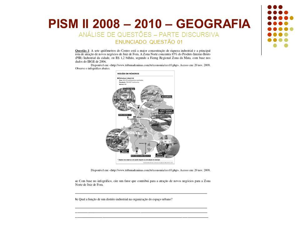 PISM II 2008 – 2010 – GEOGRAFIA ANÁLISE DE QUESTÕES – PARTE DISCURSIVA ENUNCIADO QUESTÃO 01