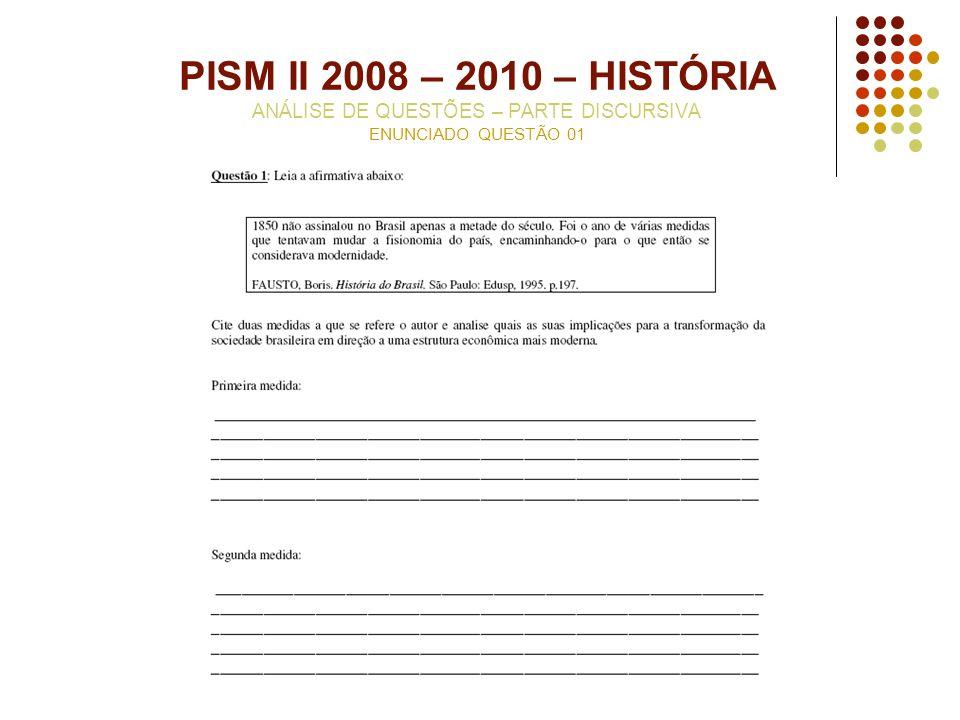 PISM II 2008 – 2010 – HISTÓRIA ANÁLISE DE QUESTÕES – PARTE DISCURSIVA ENUNCIADO QUESTÃO 01