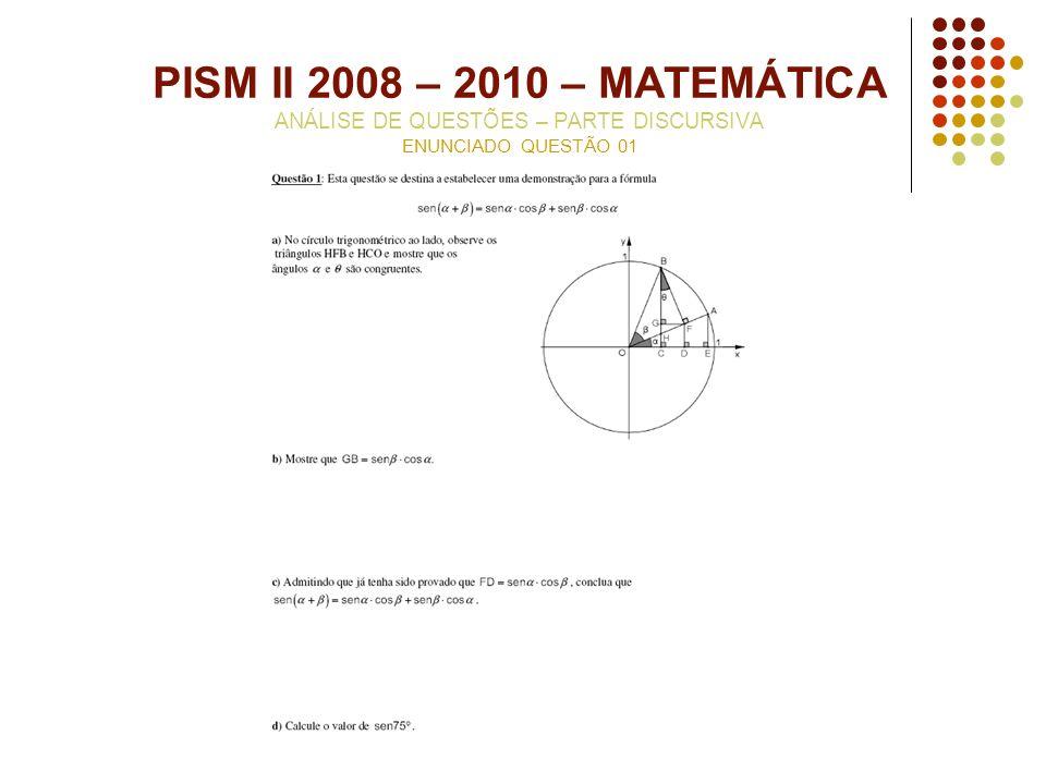 PISM II 2008 – 2010 – MATEMÁTICA ANÁLISE DE QUESTÕES – PARTE DISCURSIVA ENUNCIADO QUESTÃO 01