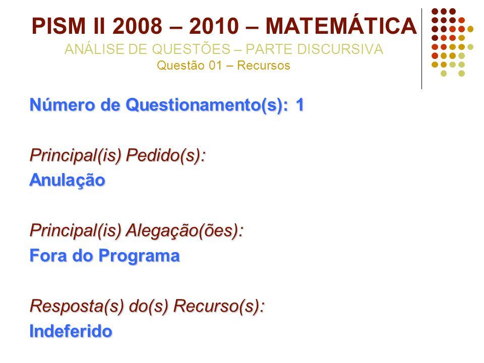 PISM II 2008 – 2010 – MATEMÁTICA ANÁLISE DE QUESTÕES – PARTE DISCURSIVA Questão 01 – Recursos Número de Questionamento(s): 1 Principal(is) Pedido(s):