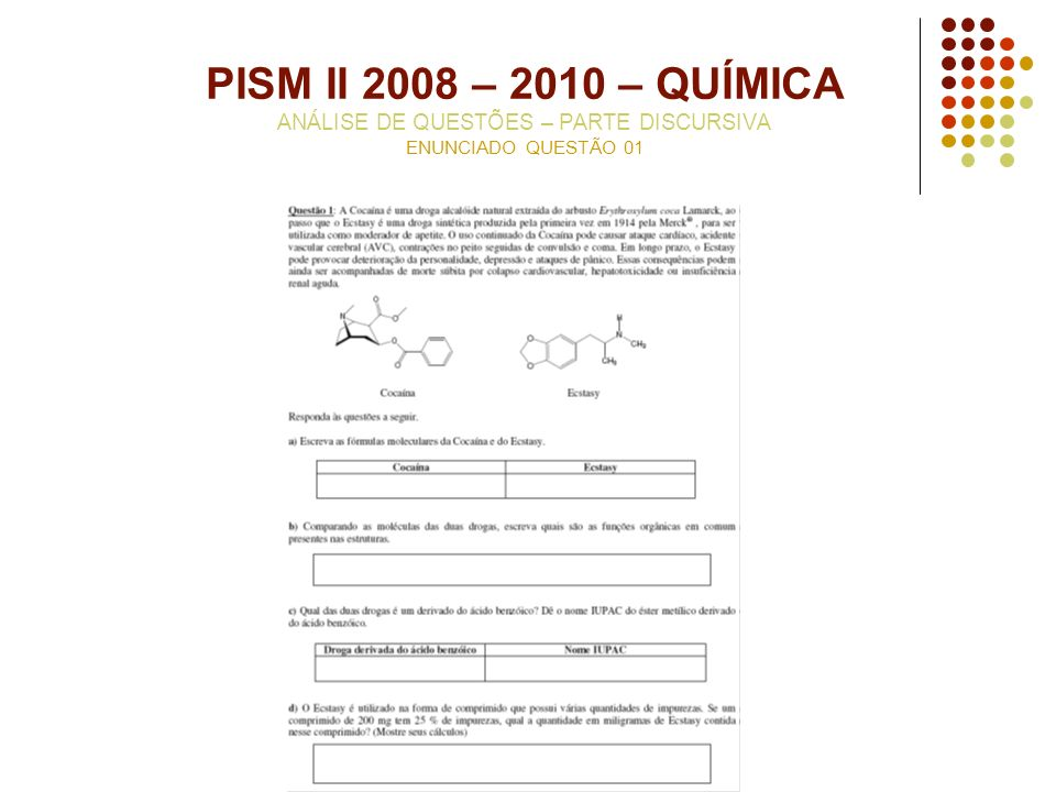 PISM II 2008 – 2010 – QUÍMICA ANÁLISE DE QUESTÕES – PARTE DISCURSIVA ENUNCIADO QUESTÃO 01