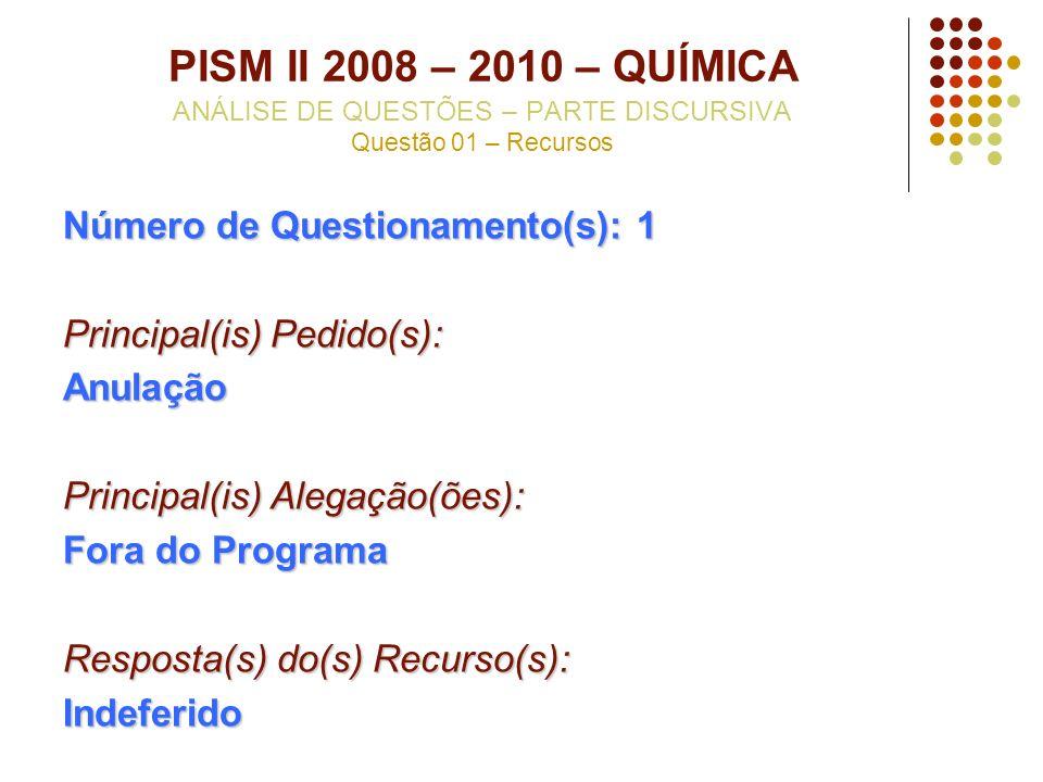 PISM II 2008 – 2010 – QUÍMICA ANÁLISE DE QUESTÕES – PARTE DISCURSIVA Questão 01 – Recursos Número de Questionamento(s): 1 Principal(is) Pedido(s): Anu