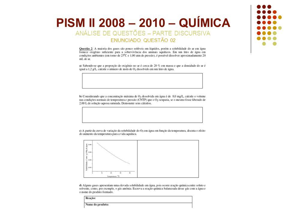 PISM II 2008 – 2010 – QUÍMICA ANÁLISE DE QUESTÕES – PARTE DISCURSIVA ENUNCIADO QUESTÃO 02