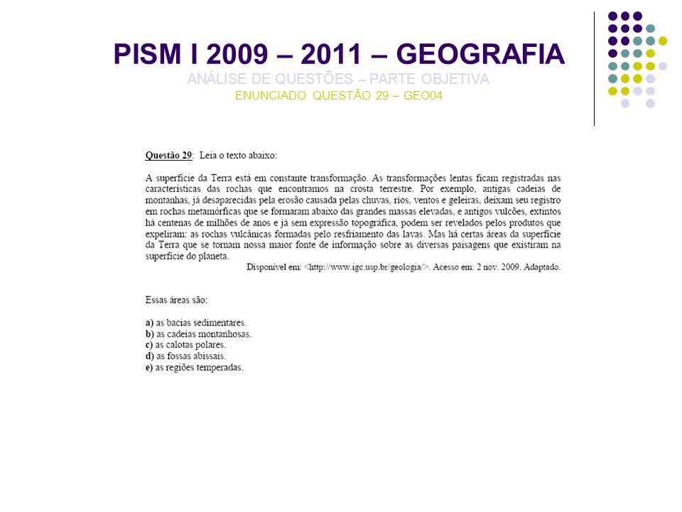 PISM I 2009 – 2011 – GEOGRAFIA ANÁLISE DE QUESTÕES – PARTE OBJETIVA ENUNCIADO QUESTÃO 29 – GEO04