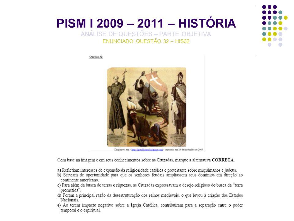 PISM I 2009 – 2011 – HISTÓRIA ANÁLISE DE QUESTÕES – PARTE OBJETIVA ENUNCIADO QUESTÃO 32 – HIS02