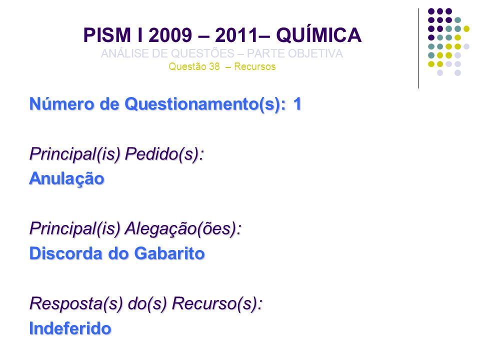 PISM I 2009 – 2011– QUÍMICA ANÁLISE DE QUESTÕES – PARTE OBJETIVA Questão 38 – Recursos Número de Questionamento(s): 1 Principal(is) Pedido(s): Anulaçã