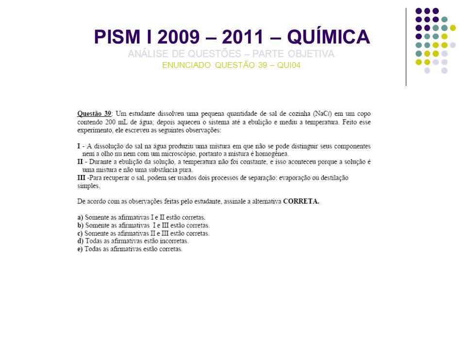 PISM I 2009 – 2011 – QUÍMICA ANÁLISE DE QUESTÕES – PARTE OBJETIVA ENUNCIADO QUESTÃO 39 – QUI04