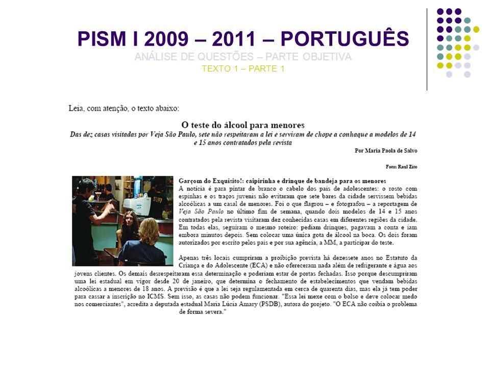 PISM I 2009 – 2011 – PORTUGUÊS ANÁLISE DE QUESTÕES – PARTE OBJETIVA TEXTO 1 – PARTE 1
