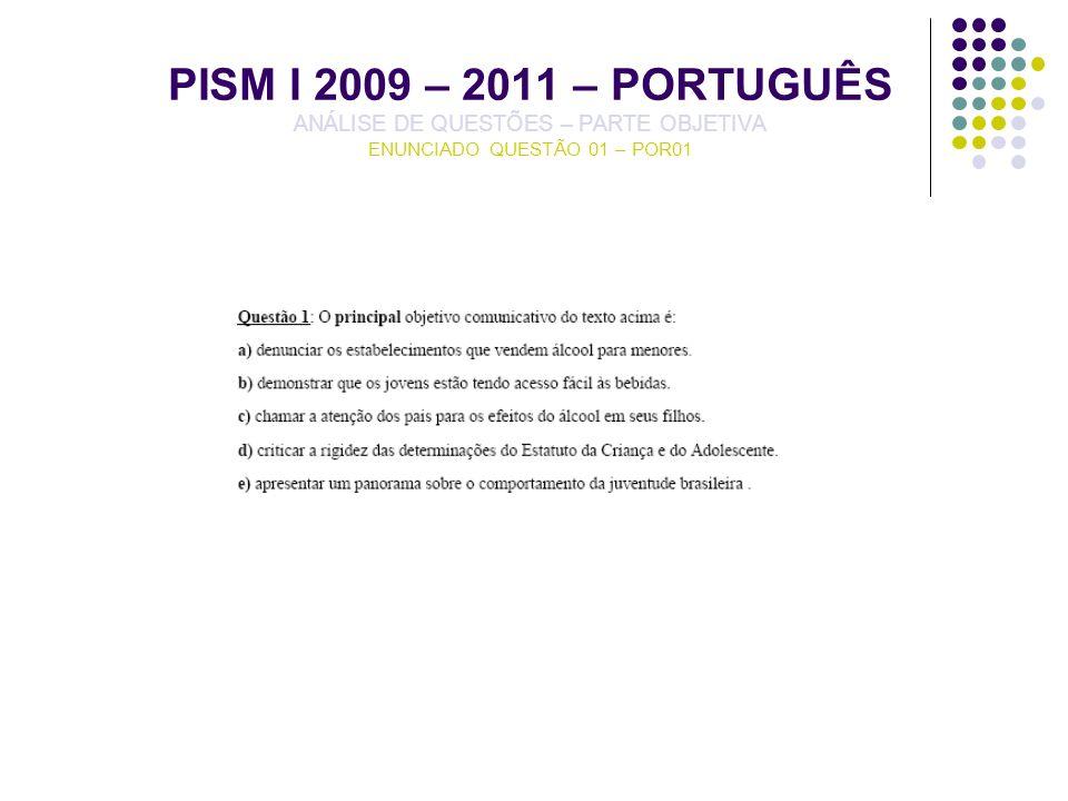 PISM I 2009 – 2011 – PORTUGUÊS ANÁLISE DE QUESTÕES – PARTE OBJETIVA ENUNCIADO QUESTÃO 01 – POR01