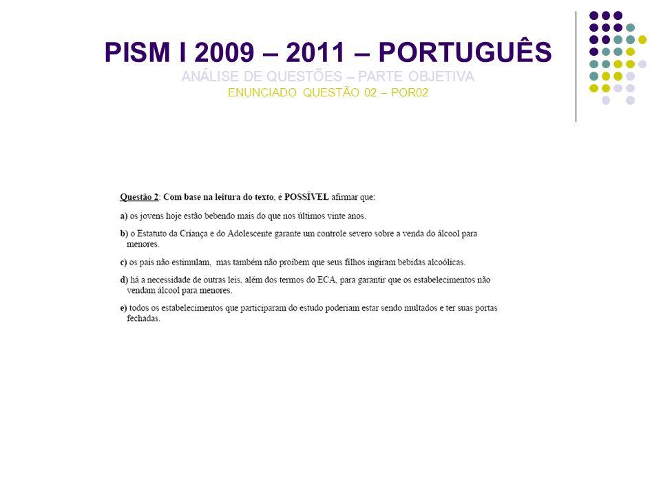 PISM I 2009 – 2011 – PORTUGUÊS ANÁLISE DE QUESTÕES – PARTE OBJETIVA ENUNCIADO QUESTÃO 02 – POR02