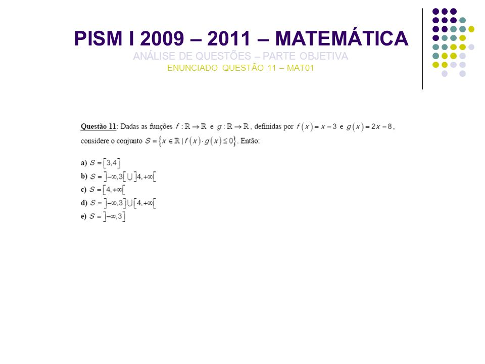 PISM I 2009 – 2011 – MATEMÁTICA ANÁLISE DE QUESTÕES – PARTE OBJETIVA ENUNCIADO QUESTÃO 11 – MAT01