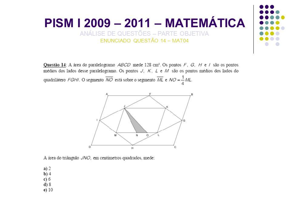 PISM I 2009 – 2011 – MATEMÁTICA ANÁLISE DE QUESTÕES – PARTE OBJETIVA ENUNCIADO QUESTÃO 14 – MAT04