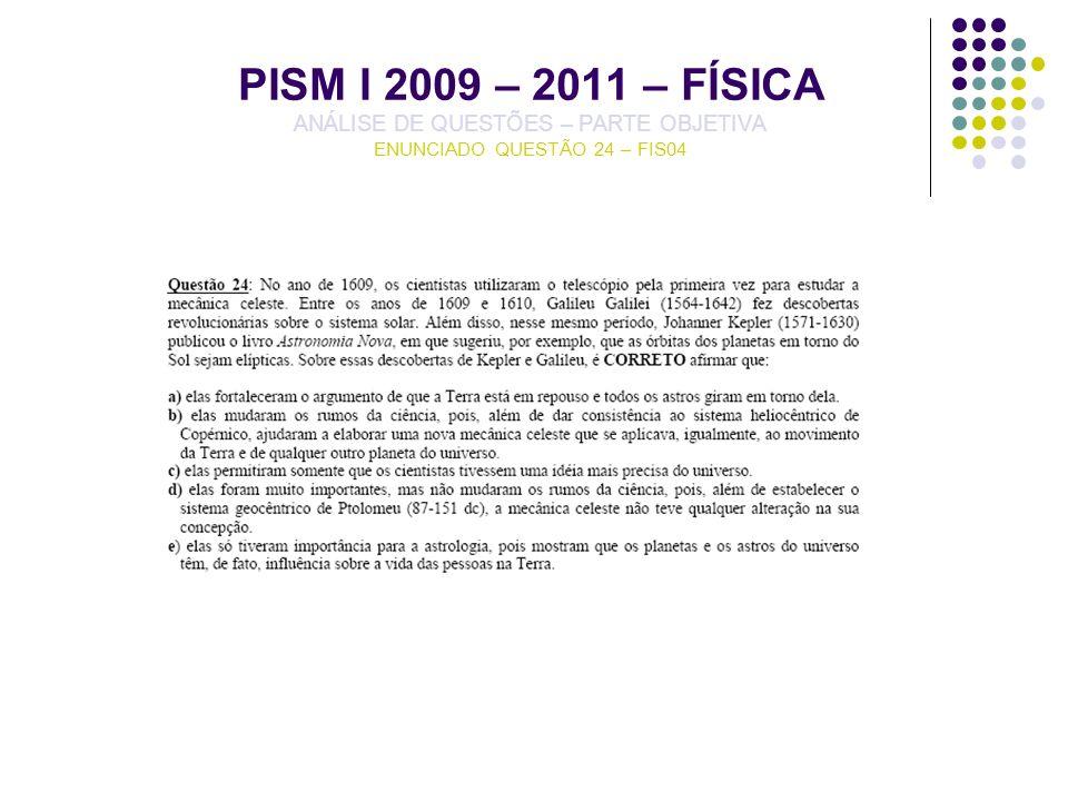 PISM I 2009 – 2011 – FÍSICA ANÁLISE DE QUESTÕES – PARTE OBJETIVA ENUNCIADO QUESTÃO 24 – FIS04