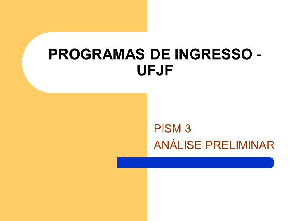 PROGRAMAS DE INGRESSO - UFJF PISM 3 ANÁLISE PRELIMINAR