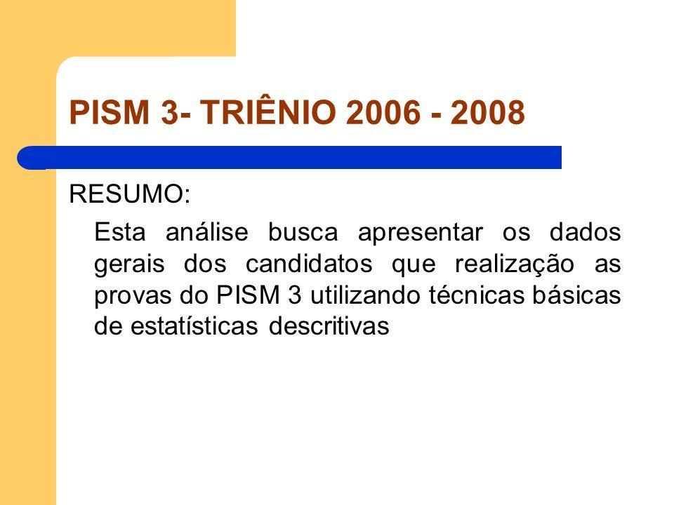 PISM 3- TRIÊNIO 2006 - 2008 RESUMO: Esta análise busca apresentar os dados gerais dos candidatos que realização as provas do PISM 3 utilizando técnica