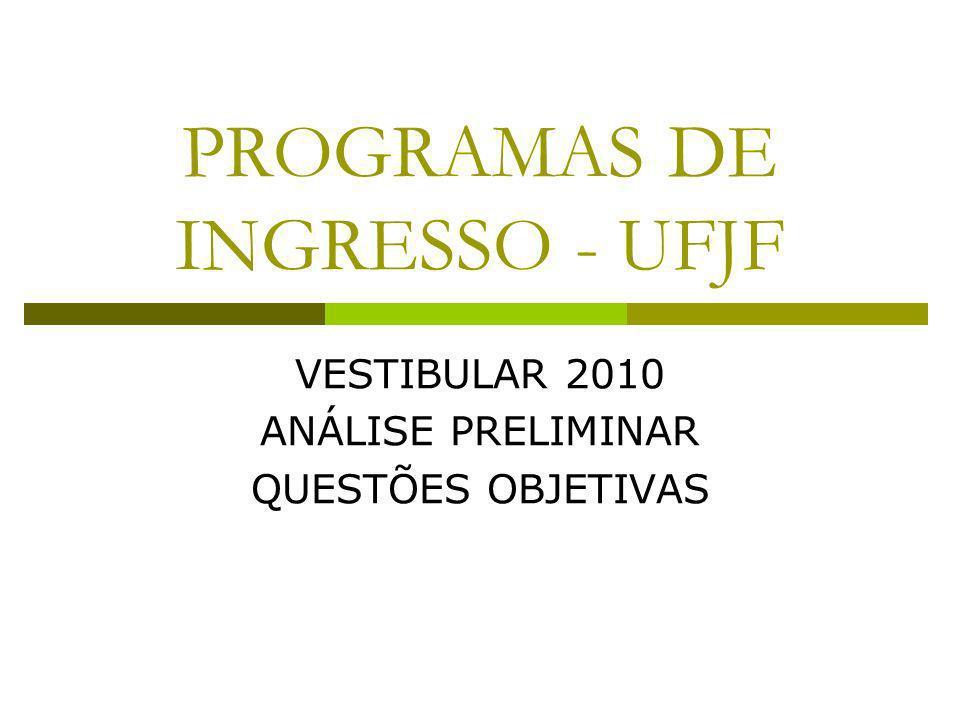 PROGRAMAS DE INGRESSO - UFJF VESTIBULAR 2010 ANÁLISE PRELIMINAR QUESTÕES OBJETIVAS
