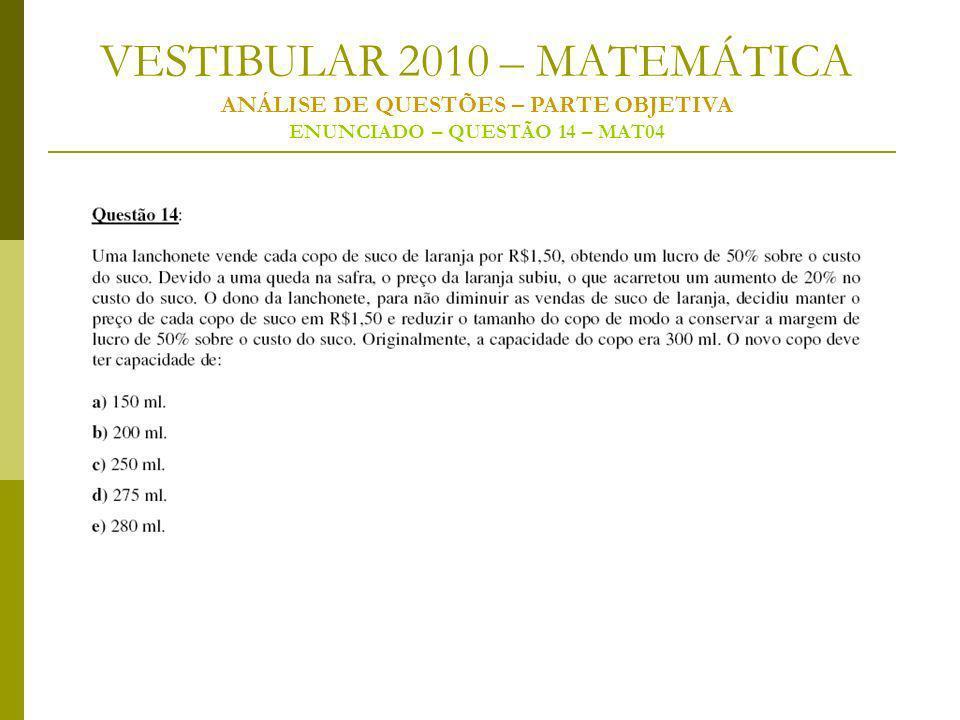 VESTIBULAR 2010 – MATEMÁTICA ANÁLISE DE QUESTÕES – PARTE OBJETIVA ENUNCIADO – QUESTÃO 14 – MAT04
