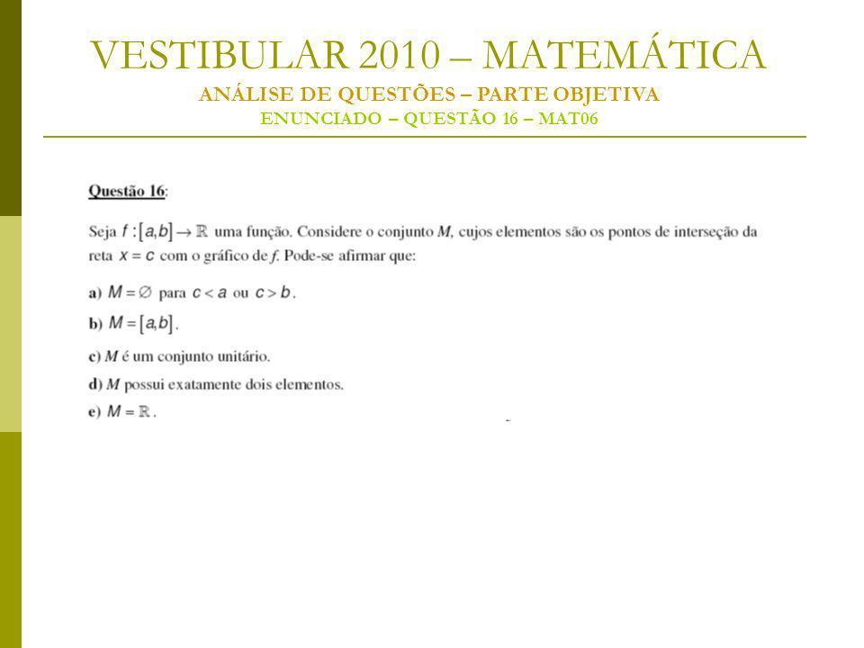 VESTIBULAR 2010 – MATEMÁTICA ANÁLISE DE QUESTÕES – PARTE OBJETIVA ENUNCIADO – QUESTÃO 16 – MAT06