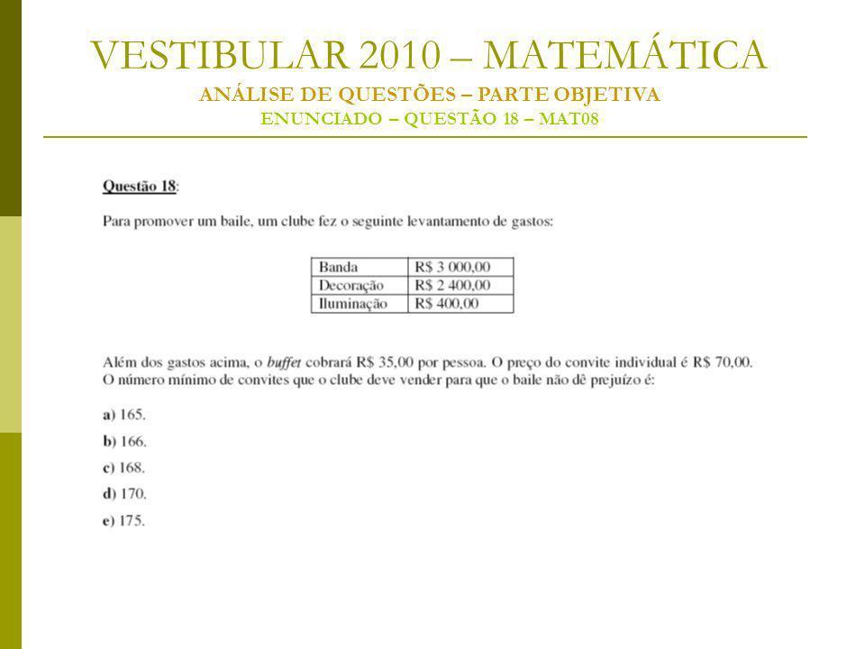VESTIBULAR 2010 – MATEMÁTICA ANÁLISE DE QUESTÕES – PARTE OBJETIVA ENUNCIADO – QUESTÃO 18 – MAT08