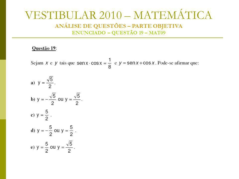 VESTIBULAR 2010 – MATEMÁTICA ANÁLISE DE QUESTÕES – PARTE OBJETIVA ENUNCIADO – QUESTÃO 19 – MAT09