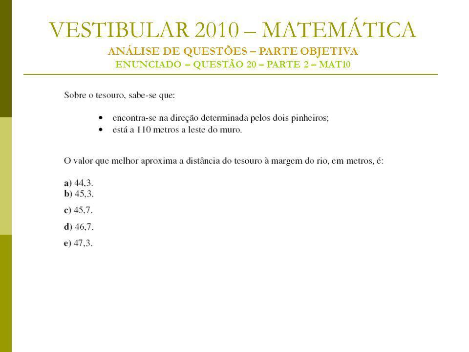 VESTIBULAR 2010 – MATEMÁTICA ANÁLISE DE QUESTÕES – PARTE OBJETIVA ENUNCIADO – QUESTÃO 20 – PARTE 2 – MAT10