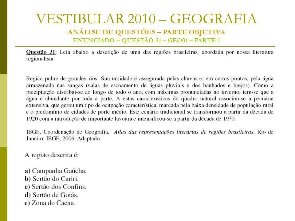VESTIBULAR 2010 – GEOGRAFIA ANÁLISE DE QUESTÕES – PARTE OBJETIVA ENUNCIADO – QUESTÃO 31 – GEO01 – PARTE 1