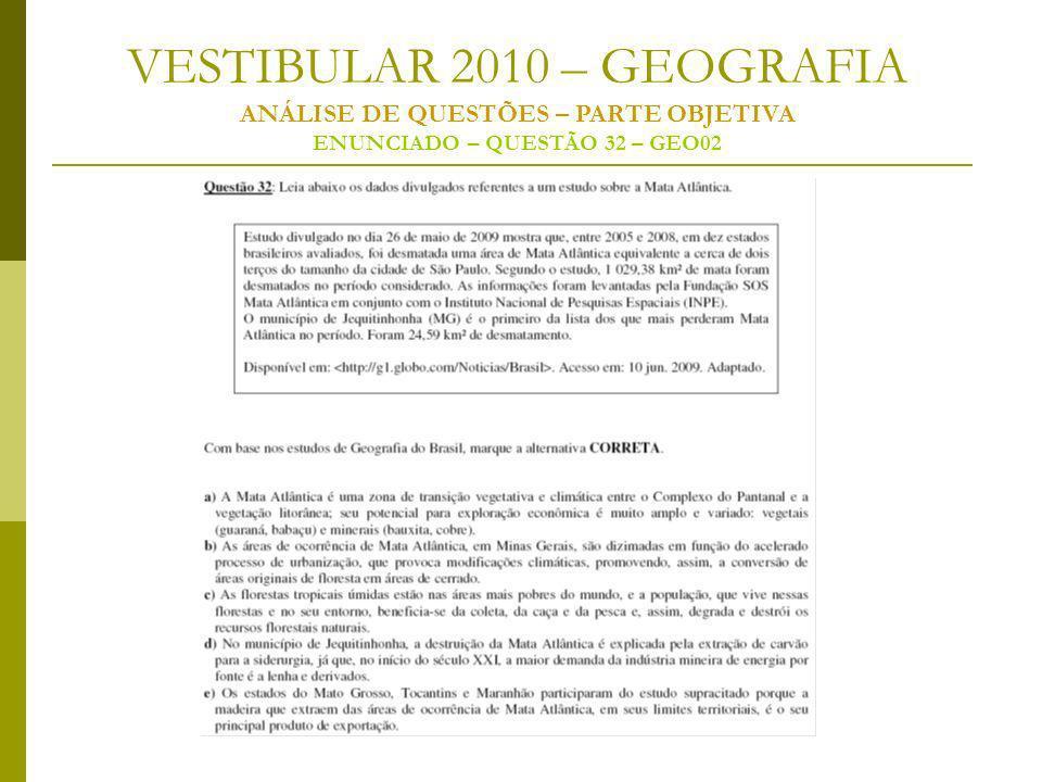 VESTIBULAR 2010 – GEOGRAFIA ANÁLISE DE QUESTÕES – PARTE OBJETIVA ENUNCIADO – QUESTÃO 32 – GEO02
