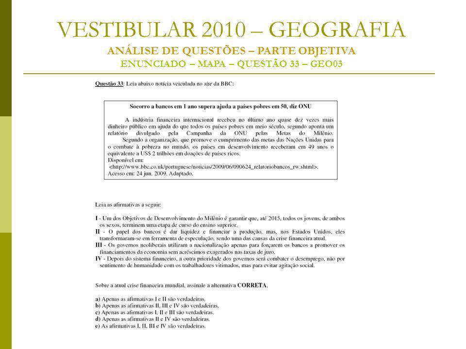 VESTIBULAR 2010 – GEOGRAFIA ANÁLISE DE QUESTÕES – PARTE OBJETIVA ENUNCIADO – MAPA – QUESTÃO 33 – GEO03