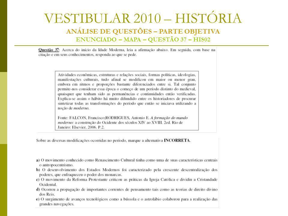 VESTIBULAR 2010 – HISTÓRIA ANÁLISE DE QUESTÕES – PARTE OBJETIVA ENUNCIADO – MAPA – QUESTÃO 37 – HIS02