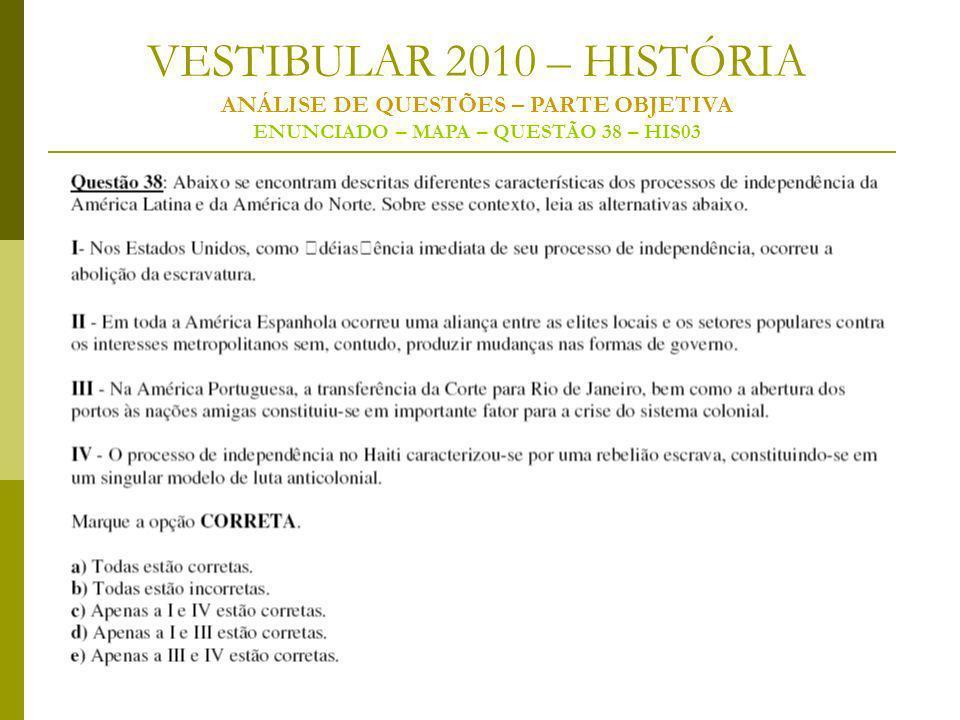 VESTIBULAR 2010 – HISTÓRIA ANÁLISE DE QUESTÕES – PARTE OBJETIVA ENUNCIADO – MAPA – QUESTÃO 38 – HIS03