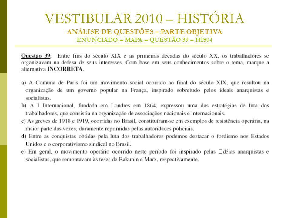 VESTIBULAR 2010 – HISTÓRIA ANÁLISE DE QUESTÕES – PARTE OBJETIVA ENUNCIADO – MAPA – QUESTÃO 39 – HIS04