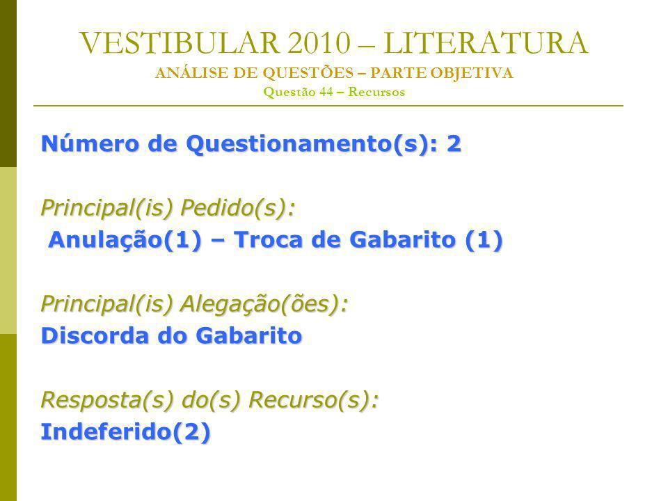 VESTIBULAR 2010 – LITERATURA ANÁLISE DE QUESTÕES – PARTE OBJETIVA Questão 44 – Recursos Número de Questionamento(s): 2 Principal(is) Pedido(s): Anulação(1) – Troca de Gabarito (1) Anulação(1) – Troca de Gabarito (1) Principal(is) Alegação(ões): Discorda do Gabarito Resposta(s) do(s) Recurso(s): Indeferido(2)