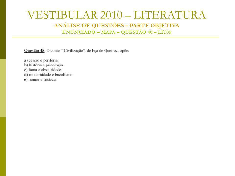 VESTIBULAR 2010 – LITERATURA ANÁLISE DE QUESTÕES – PARTE OBJETIVA ENUNCIADO – MAPA – QUESTÃO 40 – LIT05