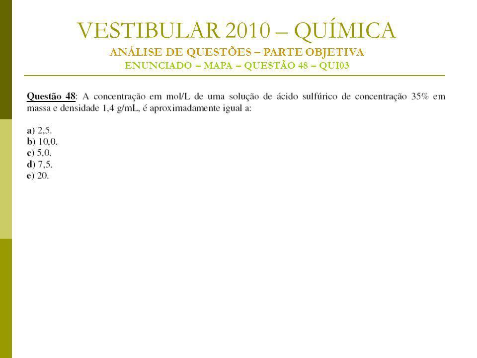 VESTIBULAR 2010 – QUÍMICA ANÁLISE DE QUESTÕES – PARTE OBJETIVA ENUNCIADO – MAPA – QUESTÃO 48 – QUI03