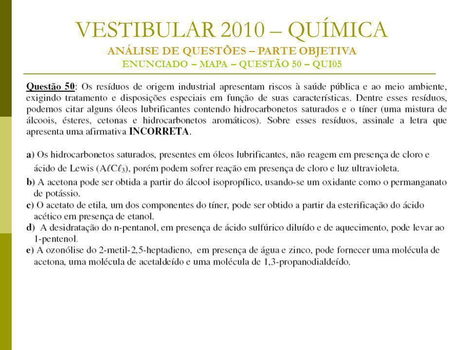 VESTIBULAR 2010 – QUÍMICA ANÁLISE DE QUESTÕES – PARTE OBJETIVA ENUNCIADO – MAPA – QUESTÃO 50 – QUI05