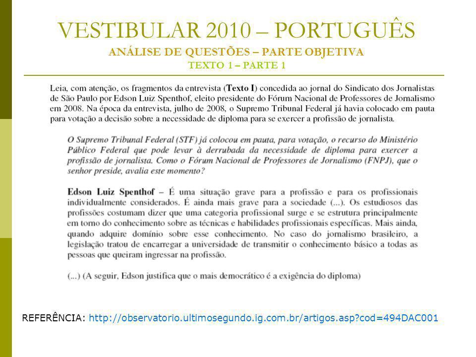 VESTIBULAR 2010 – PORTUGUÊS ANÁLISE DE QUESTÕES – PARTE OBJETIVA TEXTO 1 – PARTE 1 REFERÊNCIA: http://observatorio.ultimosegundo.ig.com.br/artigos.asp?cod=494DAC001
