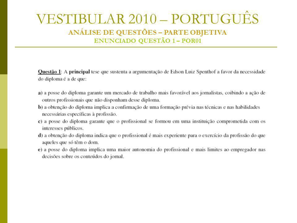 VESTIBULAR 2010 – PORTUGUÊS ANÁLISE DE QUESTÕES – PARTE OBJETIVA ENUNCIADO QUESTÃO 1 – POR01